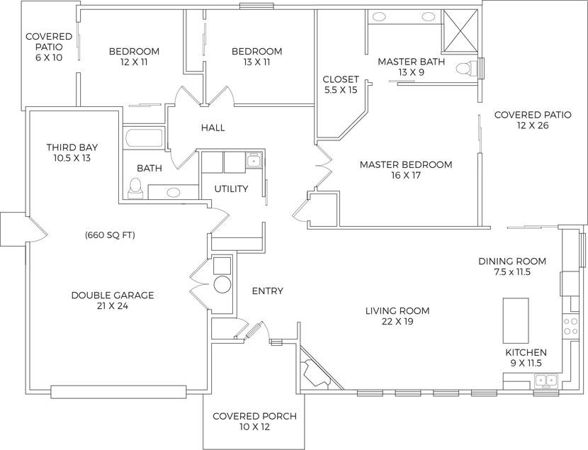 Sumac Floor Plan 1973 Square Feet 3 Bedrooms, 2 Bathrooms 3 Car Garage 2  Covered Outdoor Patios Open Floor Plan